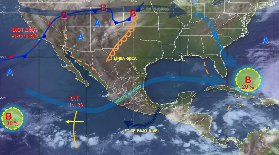 Persisten lluvias de diferente intensidad en la mayor parte del país