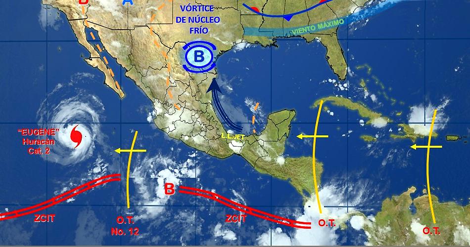 Tormentas fuertes desde Michoacán hasta Yucatán esta noche